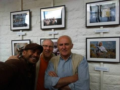 Photographer Hamde Abu Rahma (left) welcomed in Edinburgh by Palestine solidarity campaigners.